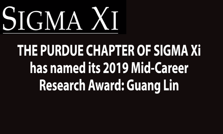 Guang Lin received the 2019 Sigma Xi Mid-Career Research Award