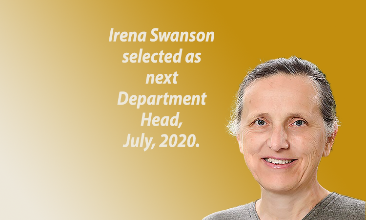 Irena Swanson selected as next Department Head